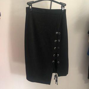 Aritzia skirt corset tie up side zipper back black